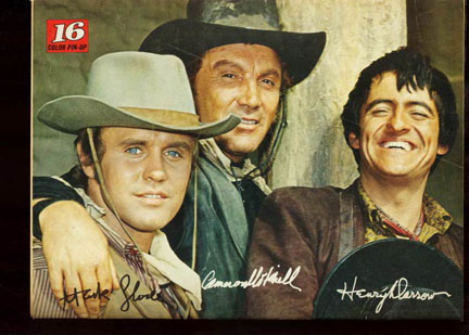 Mark Slade, Henry Darrow, and Cameron Mitchell in close-up from The High Chaparral