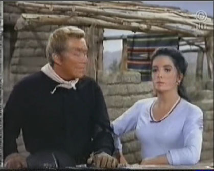 Linda Cristal as Victoria Cannon and Cameron Mitchell as Buck Cannon in High Chaparral episode, Shadow of the Wind