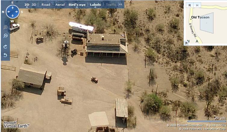 "Imagen Satelital del Rancho ""Gran Chaparral"" en  Old Tucson Studios"