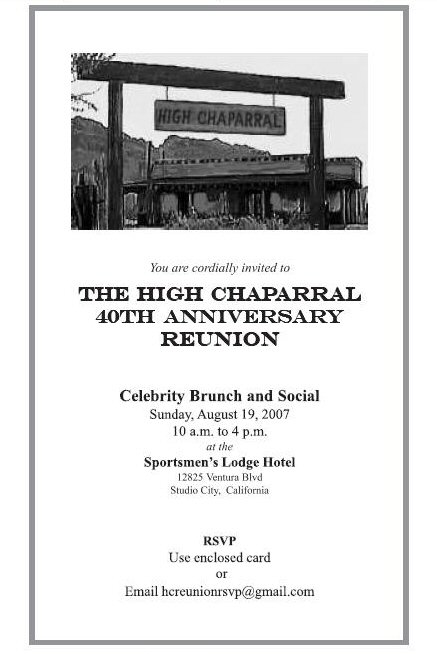 2007 The High Chaparral Reunion Invitation